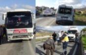Yolcu otobüsü ticari araca çarptı 2 yaralı